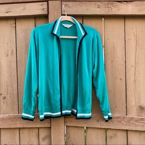 MISOOK Teal with black trim open cardigan
